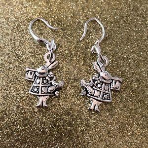 ⭐️ Delicate Silver White Rabbit 🐇 Earrings